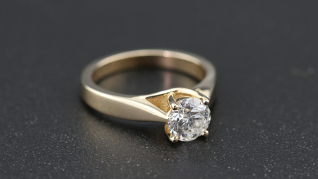 14k Yellow Gold Four Prong Solitaire Engagement Ring
