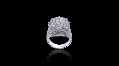 10K White Gold Flat Crown Diamond Ring