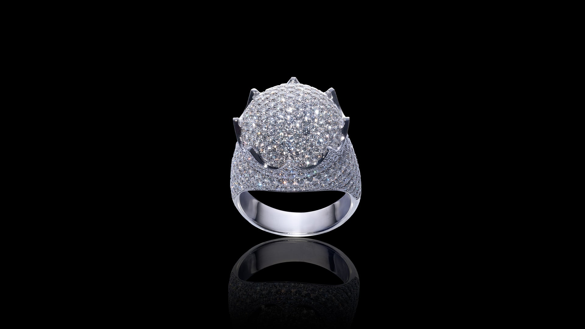10K White Gold Dome Crown Diamond Ring