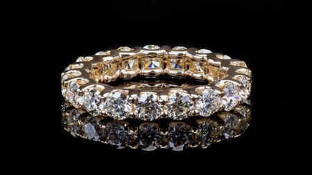 14k Yellow Gold U Shape Eternity Diamond Band Ring