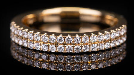 18k Yellow Gold Two Row Open Wall Setting Diamond Band Ring