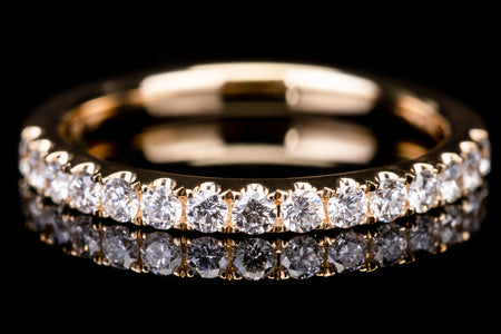 18k Yellow Gold Open Wall Setting Ladies Diamond Band Ring