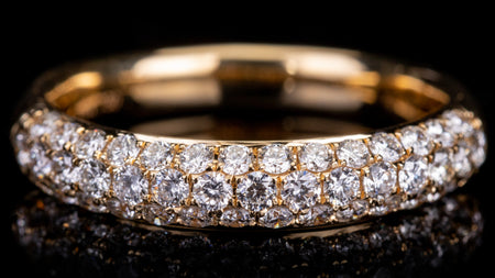 18k Yellow Gold Three Row Pave Setting Diamond Band Ring