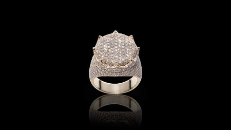 10K Yellow Gold Flat Crown Diamond Ring