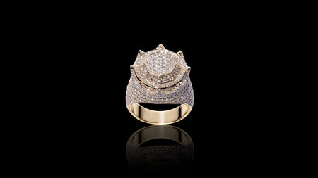 10K Yellow Gold Octagon Crown Diamond Ring