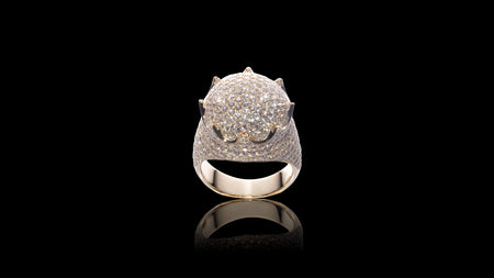 10K Yellow Gold Dome Crown Diamond Ring