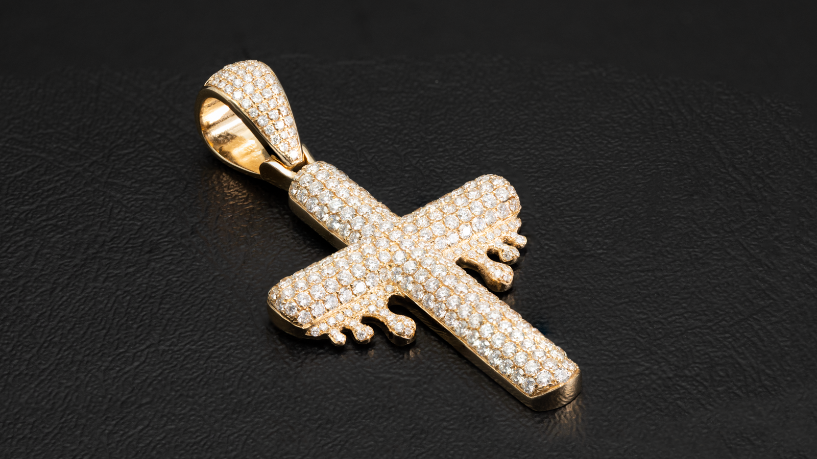 14k Yellow Gold Dripping Diamond Cross Pendant