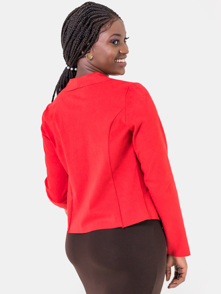 Vivo Neo Faux Suede Jacket - Red