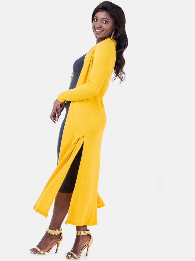 Vivo Extra Long May With Side Slits - Mustard