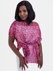 Vivo Val Chiffon Top - Purple Print