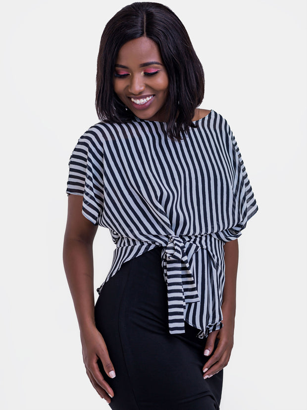 Vivo Val Chiffon Top -  Black & White Pinstripes