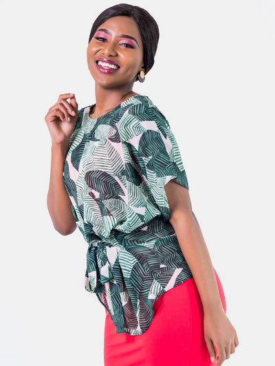 Vivo Val Chiffon Top - Green Print
