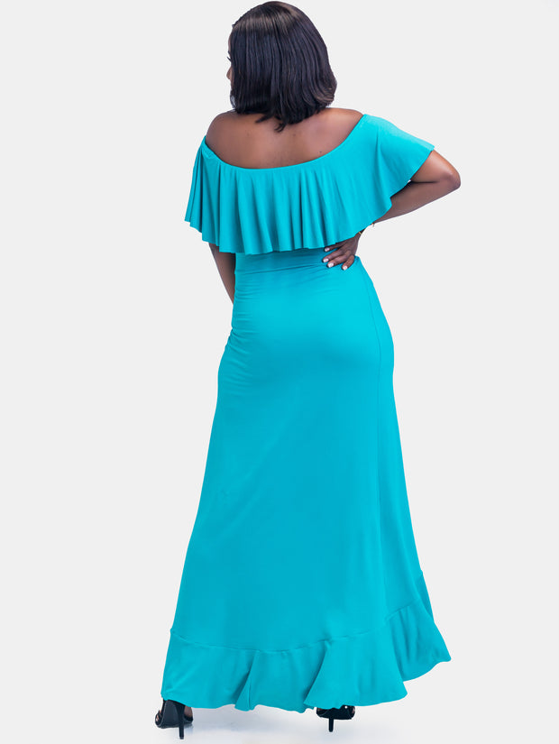 Sowairina Zara Off Shoulder Maxi Dress  - Sea Blue