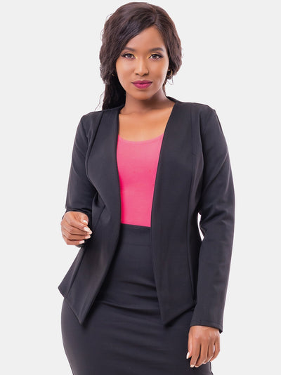 Vivo Victoria Panelled Jacket - Black - Shop Zetu