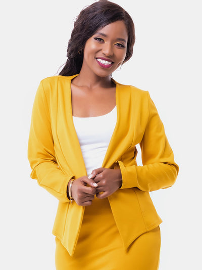 Vivo Victoria Panelled Jacket - Mustard - Shop Zetu