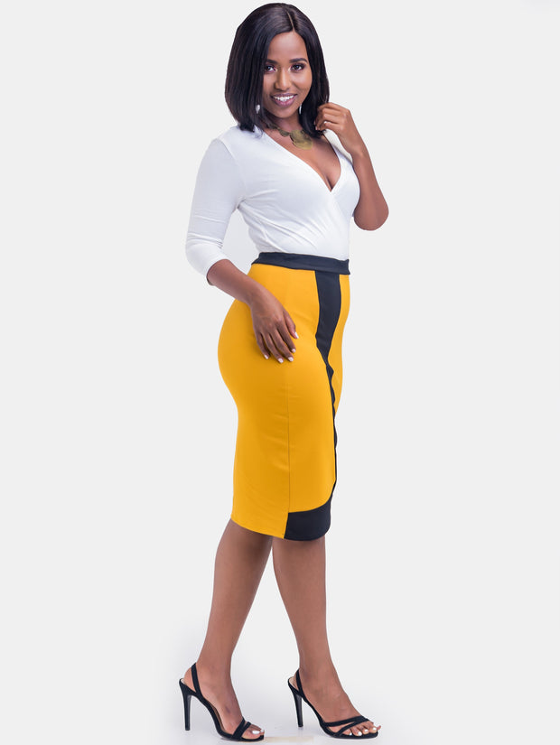 Sowairina ZaRa Pencil Skirt - Mustard & Black