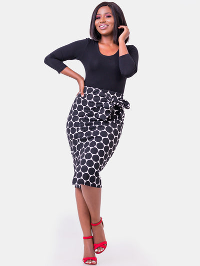 Vivo Desiree Tie Skirt - Polka Dot White