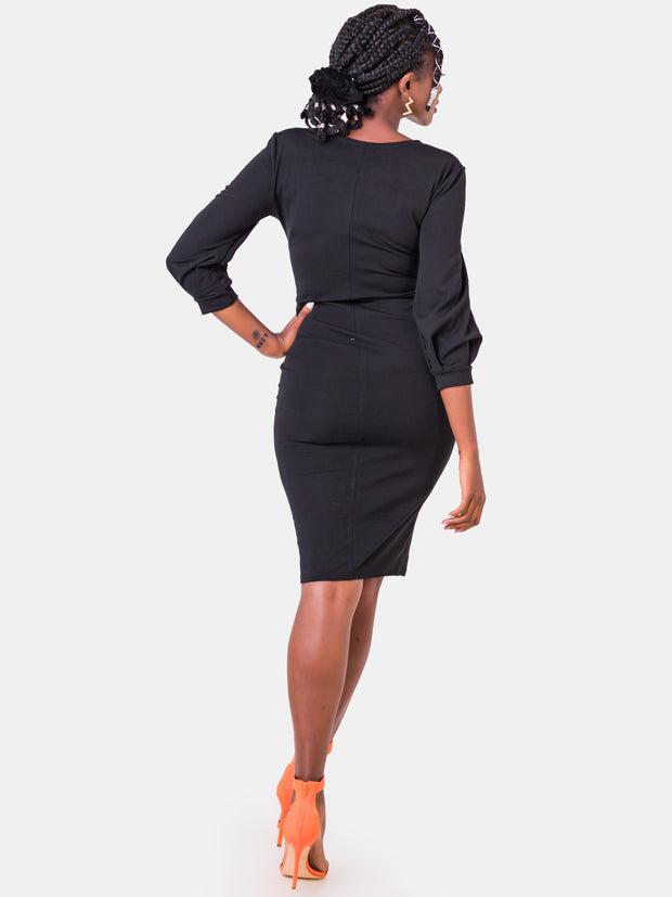 Vivo Valentine Bishop Sleeve Sheath Dress - Black