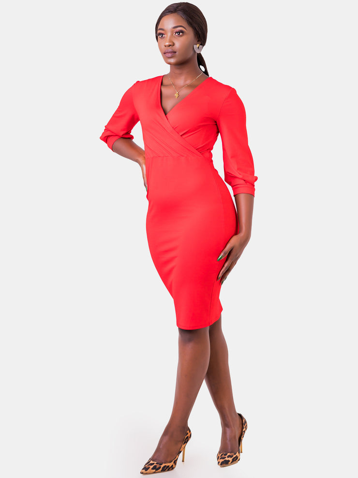 Vivo Valentine Bishop Sleeve Sheath Dress - Red