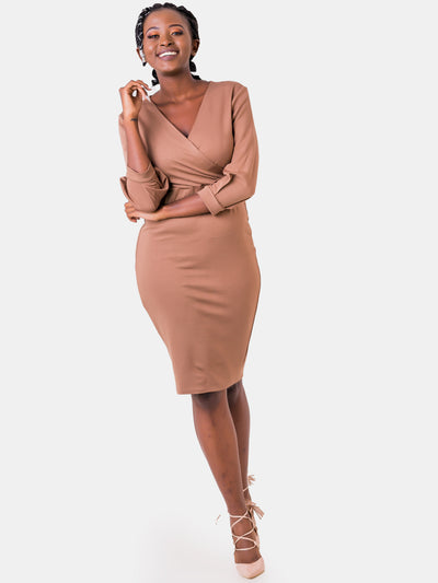 Vivo Valentine Bishop Sleeve Sheath Dress - Taupe