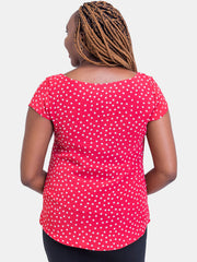 Vivo Cap Sleeve Cory Top - Red Print