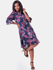 Vivo Ayo Tent Dress - Purple Print - Purple Print