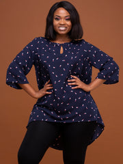 Vivo Sierra Tunic Top - Navy Dice Print
