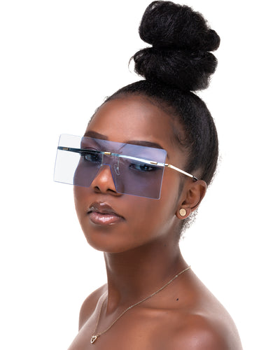 AfroDame Large Rimless Glasses - Blue