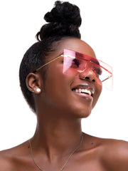 AfroDame Large Rimless Glasses - Pink