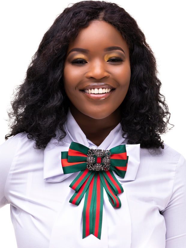 AfroDame Preppy Bow - Green / Red