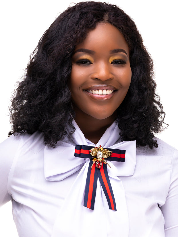 AfroDame Preppy Bow - Navy / Red