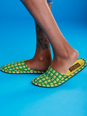 Crafts With Meaning House Sandals - Green / Yellow Print