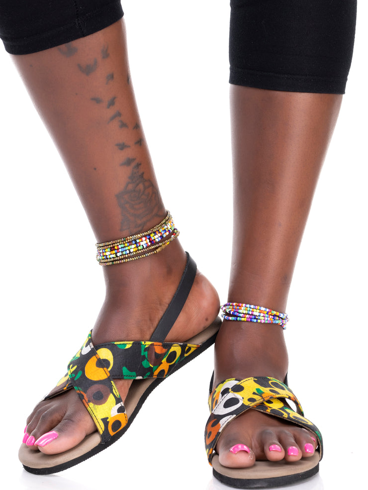 Sadiki Ukunda Sandals - White / Yellow