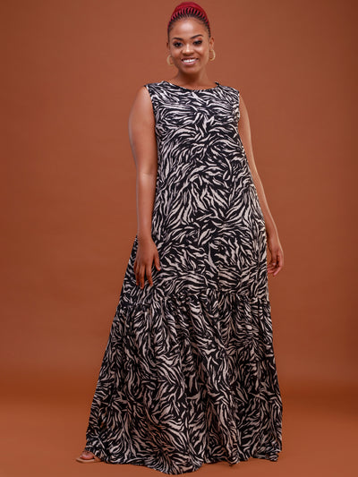 Safari Ayana Sleeveless Maxi Dress - Black / Taupe Print