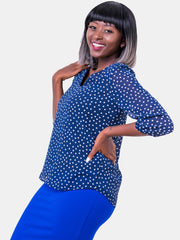 Vivo  3/4 Sleeve Ayo Top - Blue Print