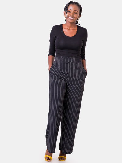 Vivo Pinstripe Pants - Black & White