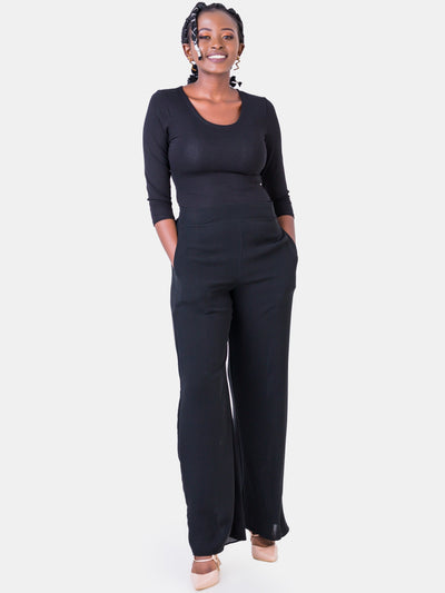 Vivo Basic Lined Crepe Pants - Black