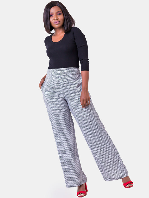 Vivo Basic Lined Crepe Pants - White & Grey