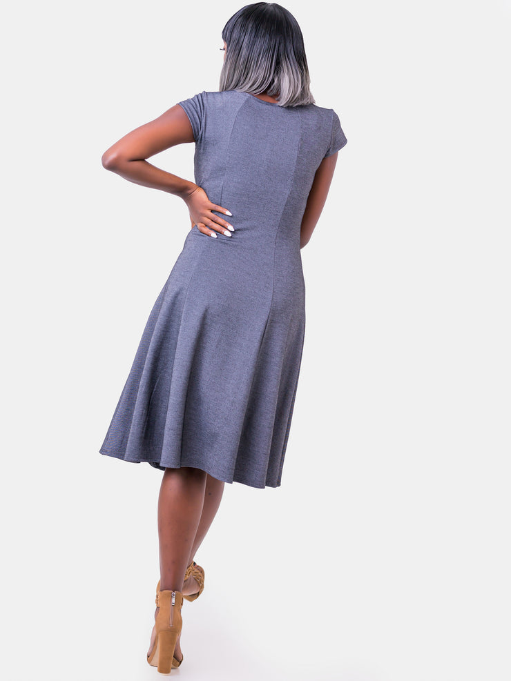 Vivo Panelled A-line Cap Sleeve Dress - Grey