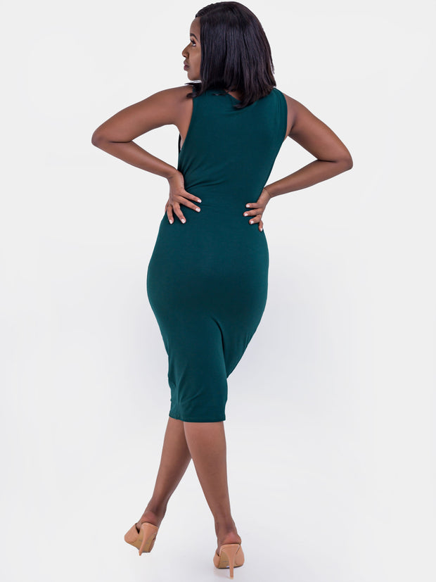 Vivo Basic Double Layered High Cowl Bodycon - Dark Green
