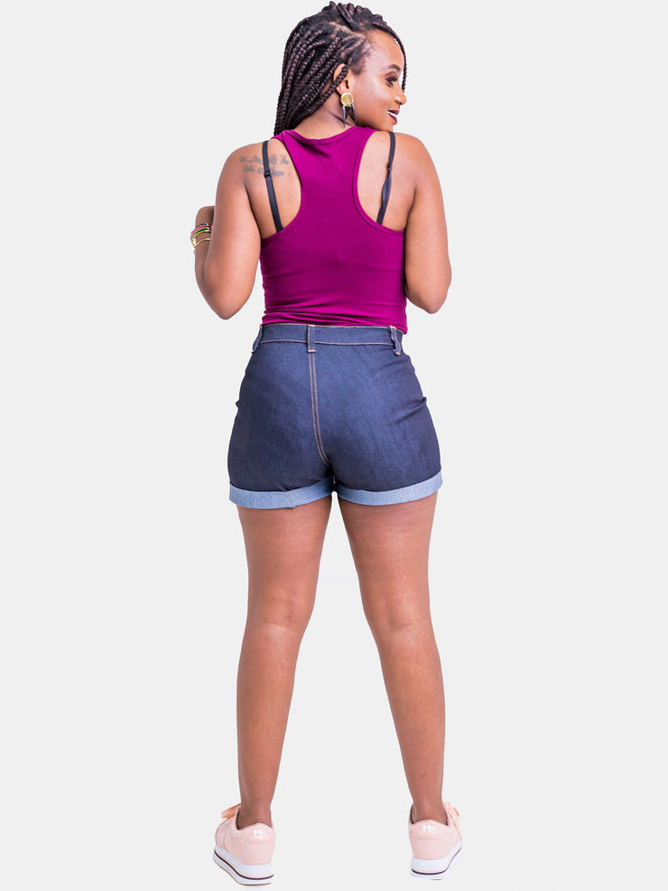 Zetu Denim Booty Shorts - Dark Blue