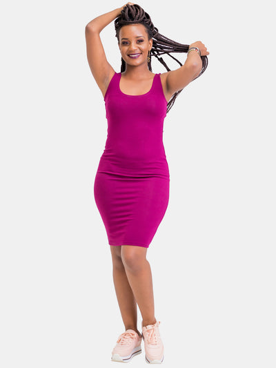 Zetu Basic Bodycon - Burgundy