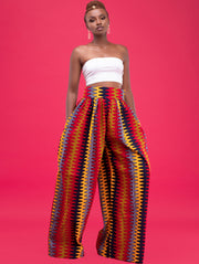 African Yuva Nyali Pants - Red / grey / Yellow Print