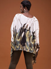 Safari Ayana Wide Top - White / Green Print