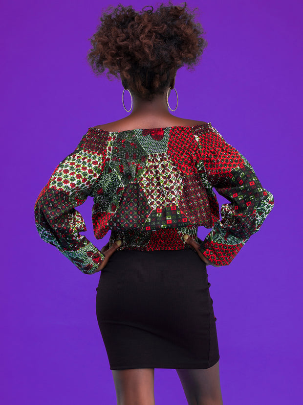 El Afrique Fahari Long Sleeve Top - Grey / Red Print