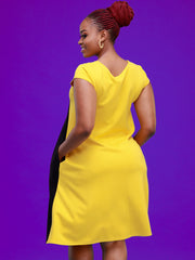 Vivo Zuri Cap Sleeved Tent Knee Length Dress - Yellow / Black