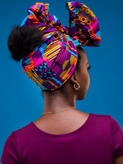 Nywele Chronicles Nile Wrap - Blue / Purple Print