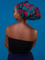 Nywele Chronicles Forest Bonnet - Blue / Pink Print