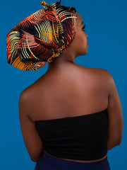 Nywele Chronicles Irie Bonnet - Orange / Green Print
