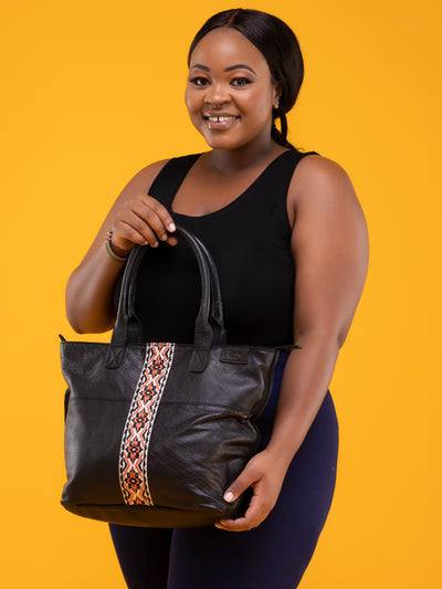 Ranks Leather Africana Handbags - Black Strapped